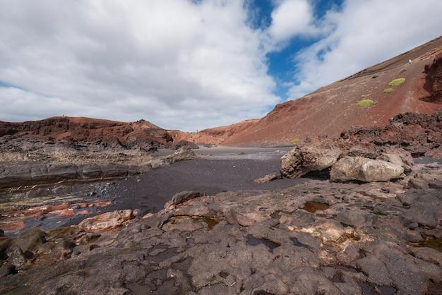 ランサローテ島、カナリア諸島、スペインの火山の海岸線の風景。
