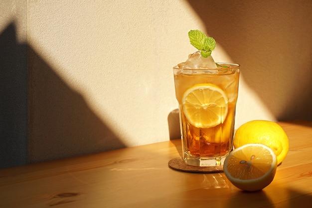 甘いレモンアイスティー