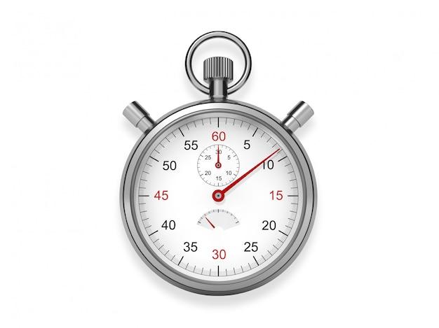 白い背景の上の金属の懐中時計