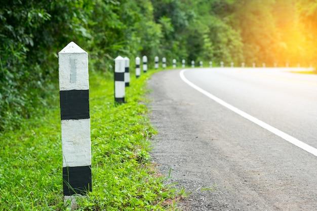 緑の草の道端を持つ黒と白のマイルストーン、次のステップのためのコンセプト。次の駅。