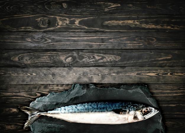 トップビューフライサバ、石の木の背景に魚