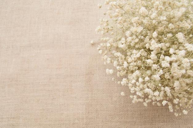 Белые цветы с копией пространства на фоне текстуры мешка