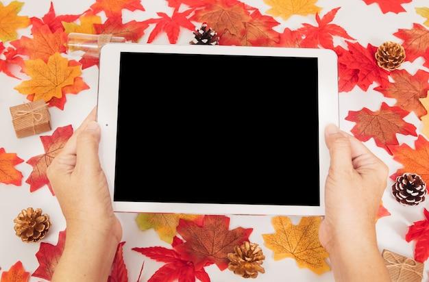 トップビューの手は、カラフルなカエデの紅葉とギフトボックス、秋のコンセプトと空白のタブレットを保持します。