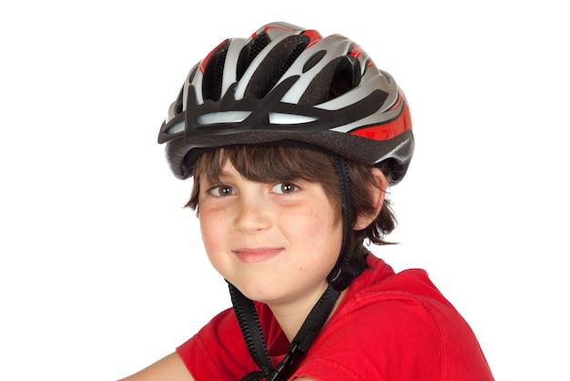 面白い子供の自転車ヘルメットは、白い背景に
