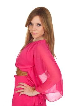ファッションの女の子とピンクのドレス