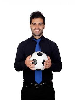 スタイリッシュ、サッカー、プレーヤー、ボール、白、背景