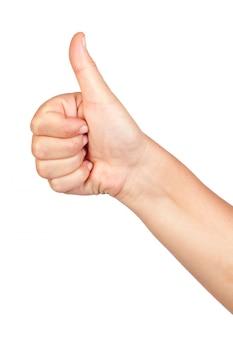 Рука делает знак ок, изолированных на белом фоне
