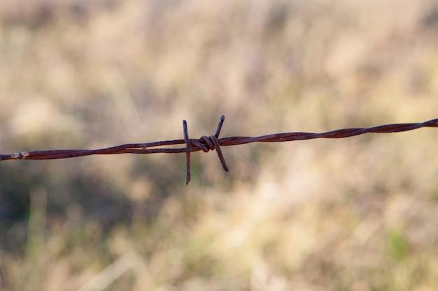 錆びた金属フェンスの詳細
