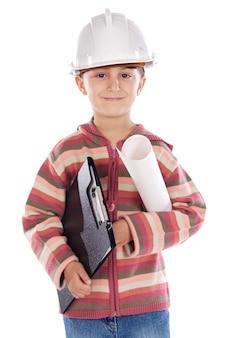 未来のエンジニアの女の子の上に白い背景