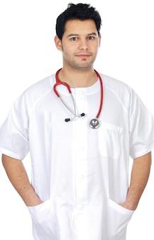若い医者、より上の白い背景