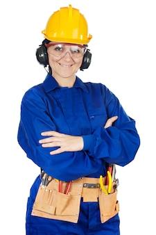 レディ建設労働者は、メモ帳の上に白い背景