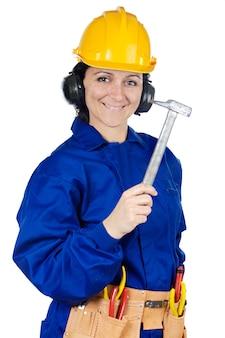 レディ建設労働者は、以上の白い背景