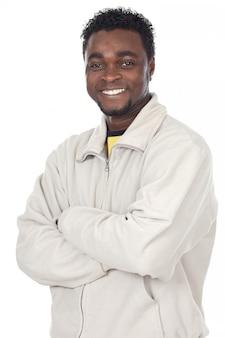 魅力的なアフリカのビジネスマン、以上の白い背景
