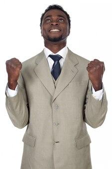 勝利を祝う魅力的なビジネスマンは、以上の白い背景