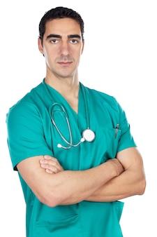 白い背景上の若い医者