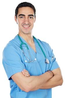 白い背景の上に幸せな医者