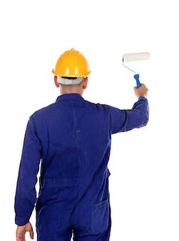 黄色いヘルメットの建設画家