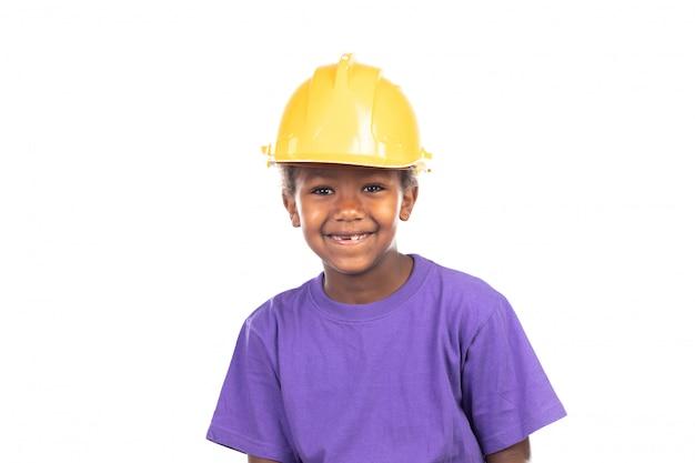 黄色いヘルメットとかわいい子供