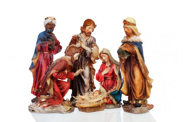 キリスト降誕のシーンのセラミックフィギュア