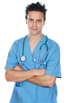 魅力的な医学の学生の上に白い背景