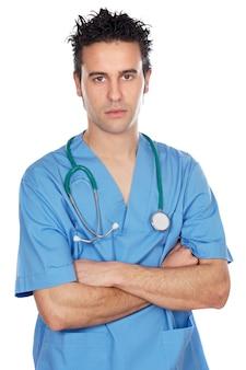 白い背景上の魅力的な医学学生