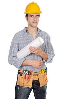 建設労働者は、上に白い背景