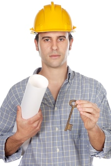 キーを持つ建築家は、手に家の計画