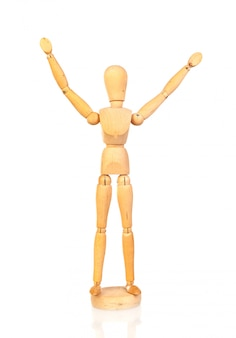 腕を伸ばした木製の関節式人形