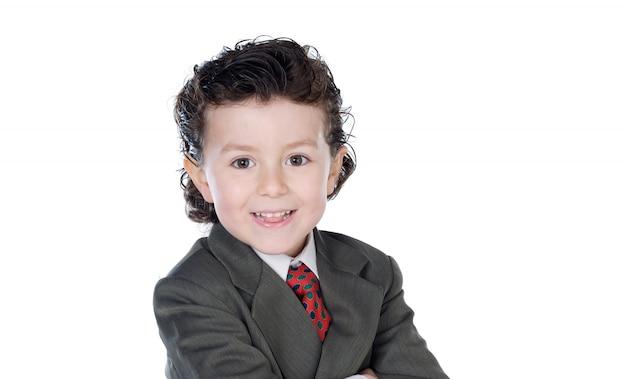 Маленький бизнесмен с коричневым костюмом, изолированным на белом пространстве