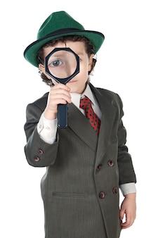 虫眼鏡を着た子供の服