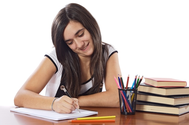 魅力的な女の子の学生以上の白い背景