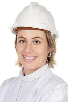 魅力的な女性の建築家の上に白い背景