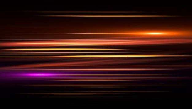 金の光の筋の速い効果。抽象的な背景の速度。