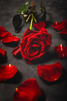 Композиция из красных роз и подарочных коробок