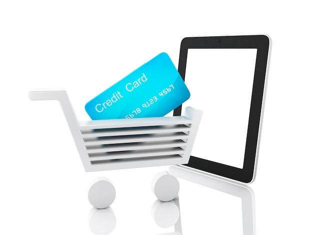 インターネットショッピングのコンセプト。ショッピングカートとタブレット