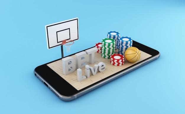 バスケットボールコートとバスケットボールのボールを持つスマートフォン。