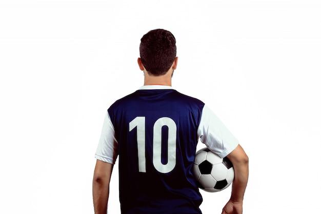 サッカーボールを持つ男。