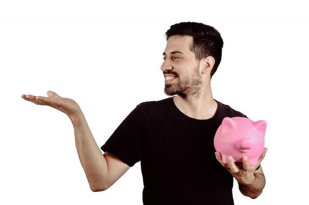 貯金を持つ若い男