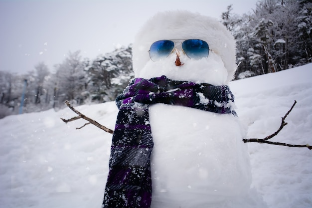 冬の帽子とスカーフと雪だるま。