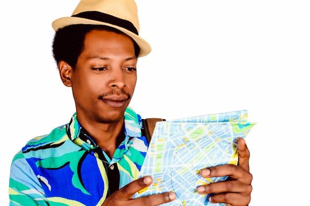 地図を保持しているアフロアメリカ人