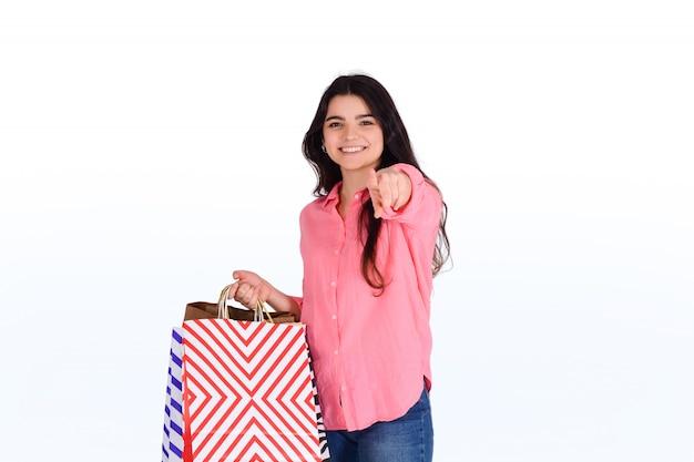 女性持株ショッピングバッグ。