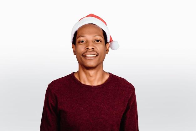 Счастливый человек в шляпе рождество.