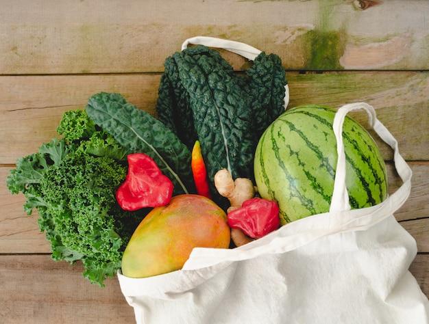 野菜入り布バッグ