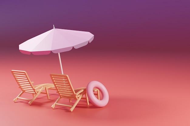 パステルグラデーションのピンクと紫の背景に椅子とインフレータブルスイミングリングプールのビーチパラソル