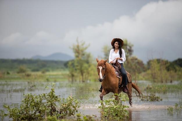 Молодая женщина с ее лошади в вечернем закате свет. на открытом воздухе