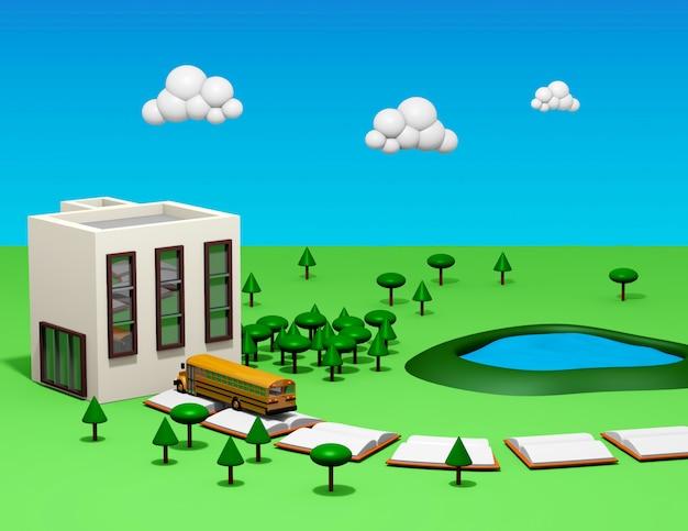 バス、本の道、校庭、漫画スタイルの木がある学校に戻る