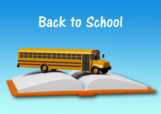 青い背景に分離された本の上のスクールバス。学校のコンセプトに戻る