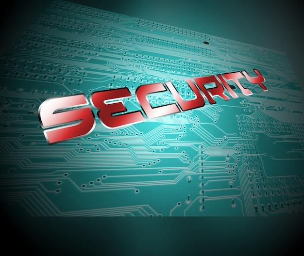 集積回路基板上の文字でセキュリティワード。デジタルセキュリティの概念