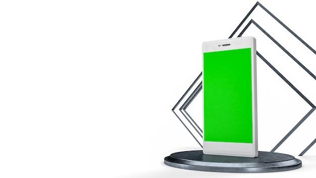 Мобильный телефон белого цвета с зеленым экраном.
