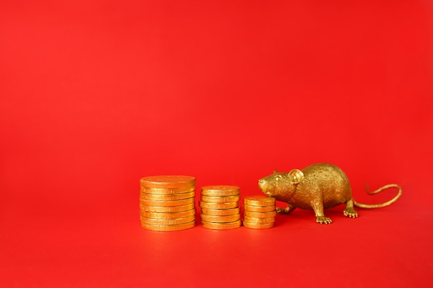 Золотые монеты и золотая крыса на красном фоне, зодиак крыса из китая.